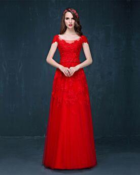 Fit N Flare Ball Abiball Festliche Kleider Kurzarm Elegante Spitzen Rot Applikationen Rückenfreies