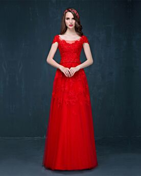 Open Back Homecoming Prom Dress Long Red Charming Lace Fit And Flare