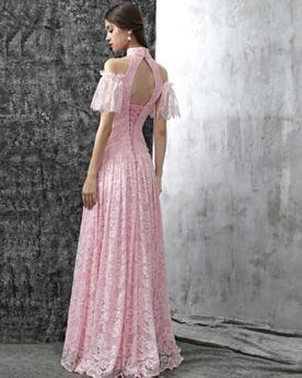 Robes De Bal De Soirée Confirmation Évasée Longue Dos Nu Ajourée Dentelle Manche Courte Rose Clair Élégant Chic
