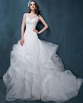 Scoop Neck Beautiful Sleeveless Lace A line White Ruffle Backless Wedding Dress