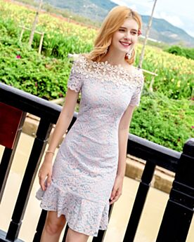 Skater Going Out Short Lace 2018 Light Blue Day Dress Bohemian Off The Shoulder Dresses Summer