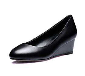Petit Talon 3 cm Escarpins Ete Rond 2018 Chaussures Travail Noir Compensées Simple Semelle Rouge