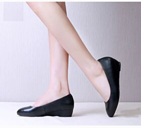 Simple Spring 2018 Kitten Heel Work Shoes Pumps 3 cm Leather Black Red Bottoms Wedges