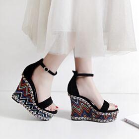 Leren Enkelband Plateau 5 inch Espadrilles Zwart Sleehakken Hoge Hakken Sandalen