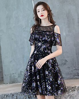 Party Gowns Tulle Hot Dress Cocktail Dresses Fit And Flare Scoop Neck Black Sequin Summer Short
