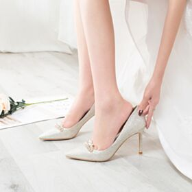 Bridals Wedding Shoes Glitter Stilettos Sparkly 3 inch High Heel Prom Shoes Pumps Shoes Pointed Toe Champagne