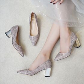 Mid Heel Bridal Shoes Party Shoes Rose Gold Pumps Pointed Toe Glitter