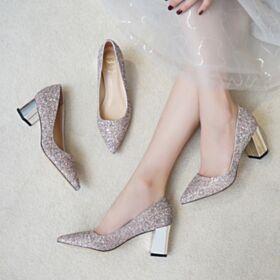 Tacon Medio De Punta Fina Zapatos Oro Rosa Zapatos Para Boda Purpurina Zapatos De Fiesta Tacon Ancho Brillantes