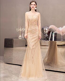 Gold Weihnachtskleider Abendkleid Tüll Glitzernden Pailletten Lange Ärmel Lange Kleider Für Festliche Meerjungfrau