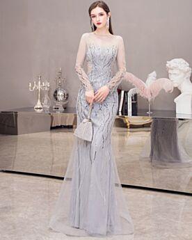 Kleider Für Festliche Glitzernden Kundengerecht Abendkleid Silber Lange Ärmel Pailletten Rückenfreies