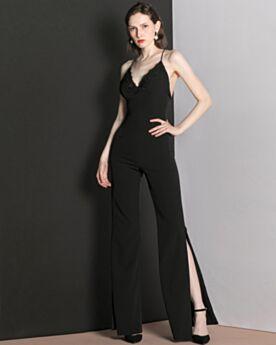 スリット ブラック シフォン エレガント フォーマル ドレス パンツドレス 2020 2019121246