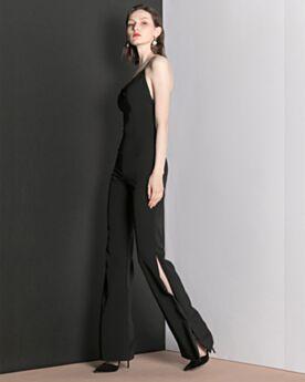 Low Cut Formal Dresses Chiffon Jumpsuits Elegant Open Back Sleeveless Long Black Slit