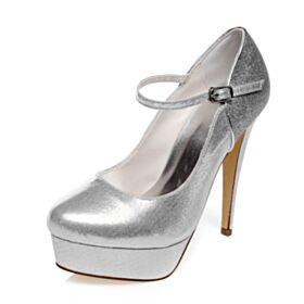Talons Aiguilles Plateforme Argenté Escarpins Chaussure De Soirée Talon Haut Glitter Chaussure Mariée Avec Bride Cheville