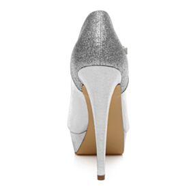 Plateau Hoge Hakken Pumps Sparkle Trouwschoenen Glitter Stiletto Zilveren  Feest Schoenen Enkelband