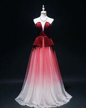 Lange Rot Abendkleid Rückenfreies Tüll Tiefer Ausschnitt Tragerloses Samt Elegante