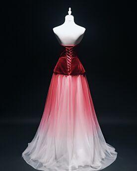 Red A Line Low Cut Evening Dress Tulle Strapless Velvet Open Back