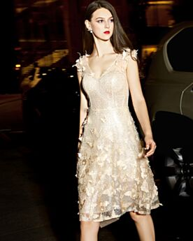 Beautiful Gold Cocktail Dress Lace Sequin Party Dress