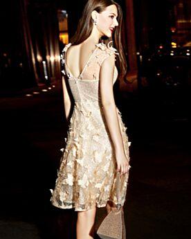 Hermoso Vestido De Cóctel Dorado Vestido De Fiesta De Lentejuelas De Encaje
