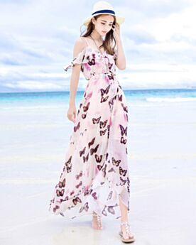 Con Volantes Divididos Casuales Corte Imperio Peplum Largos Estampado Espalda Descubierta Vestido De Playa Escotados Vestidos Tirantes Boho Bonitos De Gasa