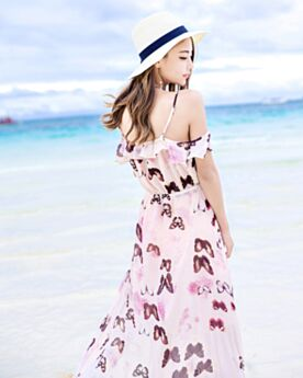 Bohemian Long Summer Slit Empire Open Back Printed Peplum Ruffle Dresses Spaghetti Strap Chiffon Low Cut Beachwear Cute