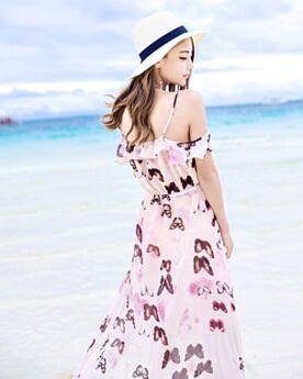 Schiena Scoperta Con Balze Stile Impero Peplum Scollati Casual Vestiti Senza Maniche Con Spacco Estivi Beachwear Chiffon Boho