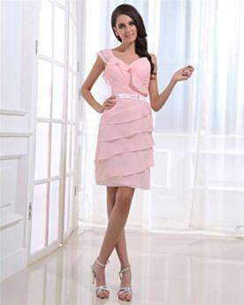 Sleeveless Short Empire One Shoulder Graduation Dress Cocktail Dress Blushing Pink Chiffon Cute