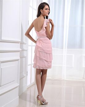 Color Rosa Viejo Corte Imperio Gasa Cortos Con Volantes Vestidos Coctel