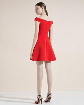 Escotados Rojos Drapeado Vestidos Semi Formales Hombros Caidos Elegantes Vestidos Invitada Boda