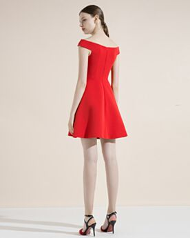 Short Dress For Wedding Off The Shoulder Cocktail Dresses Low Cut Semi Formal Dresses Satin Red Flounce Sleeveless Charming Juniors