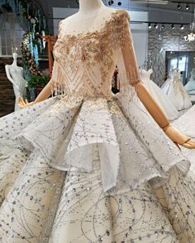 Chiesa Oro Mezza Manica Peplum Dress Abiti Sposa Paillettes Tulle Trasparenti Con Frange Principessa