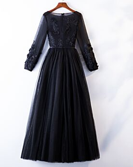 Tulle Long Prom Dresses Long Sleeved Princess Formal Dresses Black