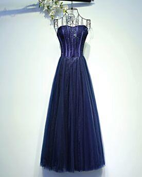Ballkleider Fit N Flare Lange A Linie Perlen Abendkleider Schulterfreies Vintage Abiballkleider