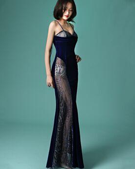 Sexy Transparent Evening Dresses Spaghetti Strap Sheath Velvet Backless