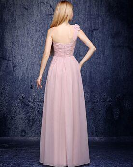 Empire Longue Une Épaule Rose Poudré Élégant Robe Demoiselle D'honneur Robe Pour Mariage Dos Nu Mousseline Simple 3D Fleur Plissée