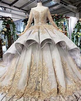 Balze Oro Lunghi Manica Lunga Abiti Prom Con Perline Vintage Principessa Abiti Da Cerimonia