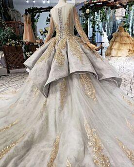 Kanten Baljurk Luxe Galajurken Gouden Applique Glitter Verlovingsjurk Lange