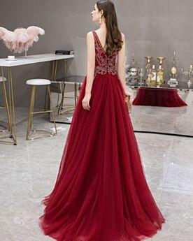 Abendkleid Lange Ärmellos Perlen A Linie Tüll Rot Tiefer Ausschnitt Ballkleider 2020 Rückenfreies Kleider Für Festliche