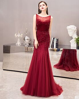 Backless Mermaid Sequin Beading Sparkly Long Scoop Neck Sweet 16 Dresses Formal Dresses Burgundy Tulle