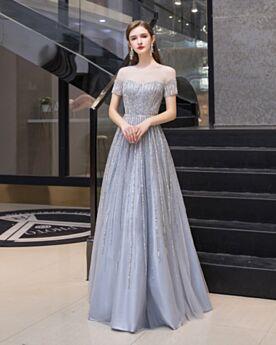 Glitter Sparkly Long Prom Dresses Evening Dresses Light Blue Princess Open Back