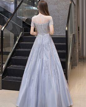 Cristal Robe De Bal Glitter Brillante Manche Courte Robe De Soirée Dos Nu Longue Bleu Clair