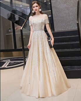 Glitter Off The Shoulder Evening Dresses Backless Champagne A Line Sparkly Prom Dresses Long