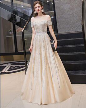 Hombros Caidos Vestidos De Noche Color Champagne Vestidos Para Nochevieja Largos Vestidos De Prom Tul Brillantes
