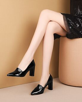 Black Pointed Toe Pumps 7 cm Mid Heel Thick Heel Leather Classic 2020