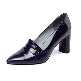 Dark Blue Pumps Leather Pointed Toe 7 cm Heeled