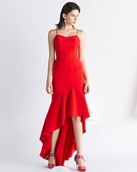Robe Cocktail Satin Originale Évasée Simple Encolure Coeur Rouge Volantée Longue Derriere