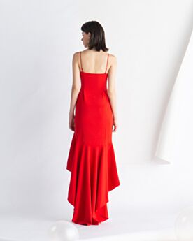 Vintage Semi Formal Party Dress High-Low Knee Length Sleeveless Cocktail Dress Red