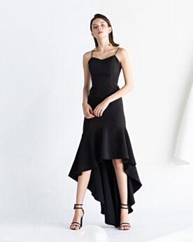 Espalda Descubierta High Low Acampanados Drapeado De saten Vestidos Coctel Vestidos Semi Formales Vintage Negro