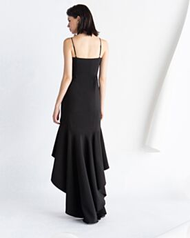 2020 Backless Spaghetti Strap Black Flounce Satin High Low Fit And Flare Semi Formal Dress Cocktail Dress Simple