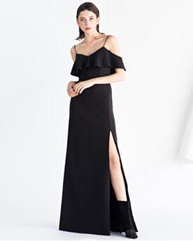 De Satin De Tirantes Largos Escote Corazon Espalda Descubierta Volantes Vestidos De Noche Vintage Negro Corte A Sencillos