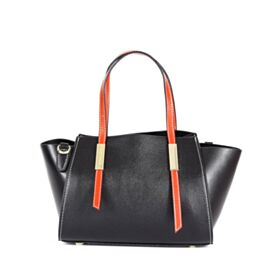 Satchel Full Grain Shoulder Bag Black Fashion Crossbody Zip Up Handbag